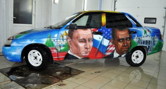 подмигивающий Путин и грустящий обама